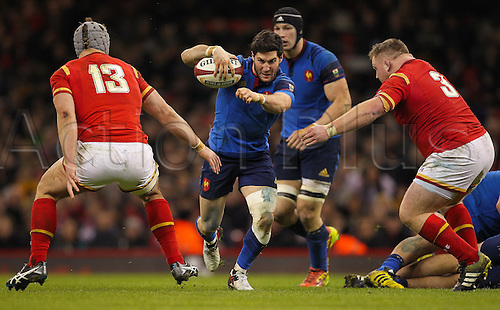 26.02.2016. Principality Stadium, Cardiff, Wales. RBS Six Nations Championships. Wales versus France. France's Maxime Machenaud makes a break