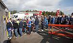 Rangers fans queue to get into the newly named Indodrill Stadium in Alloa