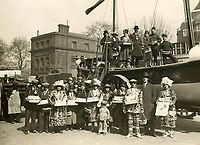 BNPS.co.uk (01202 558833)<br /> Pic: Sport&GeneralPressAgency/RNLI<br /> <br /> Visit to Hastings by HRH The Prince of Wales in April 1925.<br /> <br /> Splash in the Attic...<br /> <br /> A 'lost' cache of 13,000 photographs charting the history of the RNLI has been found in the attic of the charity's headquarters.<br /> <br /> Many of the black and white photos date back to the 1920s and '30s long before the terms 'health and safety' and 'risk assessment' were thought of.<br /> <br /> One image depicts a brave lifeboatman dressed in a suit and cloth cap just as the lifeboat he is on launches down a ramp into a choppy sea.<br /> <br /> Another shows the crew of another open lifeboat getting swamped by waves with only their souwesters and lifejackets to protect them.<br /> <br /> The photos have been unearthed in storage space at the RNLI HQ in Poole, Dorset, and they are now being digitised.