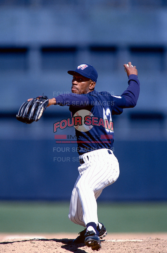 Ramon Ortiz of the Anaheim Angels participates in a Major League Baseball Spring Training game during the 1998 season in Phoenix, Arizona. (Larry Goren/Four Seam Images)