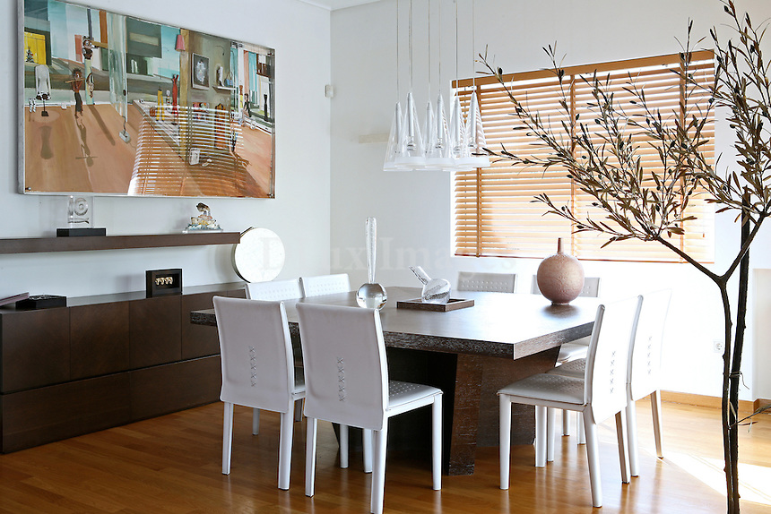 contemporary wooden dining table