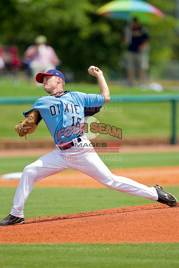 Starting pitcher Sean Brady #18 of Dixie in action against the AABC at the 2011 Tournament of Stars at the USA Baseball National Training Center on June 25, 2011 in Cary, North Carolina.  The AABC defeated Dixie 4-2.  (Brian Westerholt/Four Seam Images)