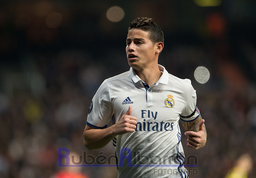 Real Madrid's Colombian midfielder James Rodriguez during the UEFA Champions League match between Real Madrid and Borussia Dortmund at the Santiago Bernabeu Stadium in Madrid, Tuesday, December 7, 2016.