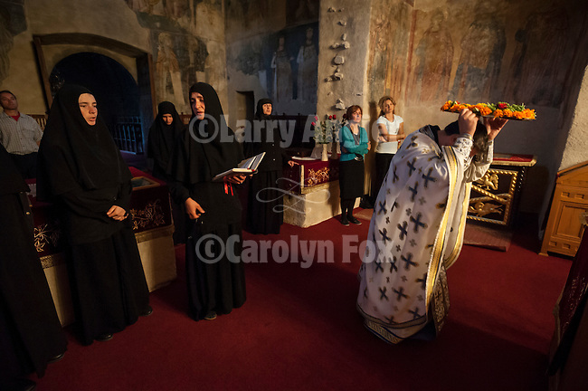 The Exaltation (Elevation) of the Holy Cross liturgy service, inside the Church of the Ascension of Jesus Christ at the Monastery Mileševa, Serbia originally built in the 13th century.