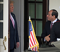 United States President Donald J. Trump walks President Abdel-Fattah el-Sisi of the Arab Republic of Egypt to his limo following their meeting at the White House in Washington, DC on April 9, 2019.<br /> Credit: Ron Sachs / CNP/AdMedia