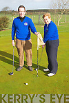 DRIVE IN: Lady Captain Catherine Kearns and Captain Eddie Morrison at their Drive In on Sunday morning at Ardfert Golf Club.