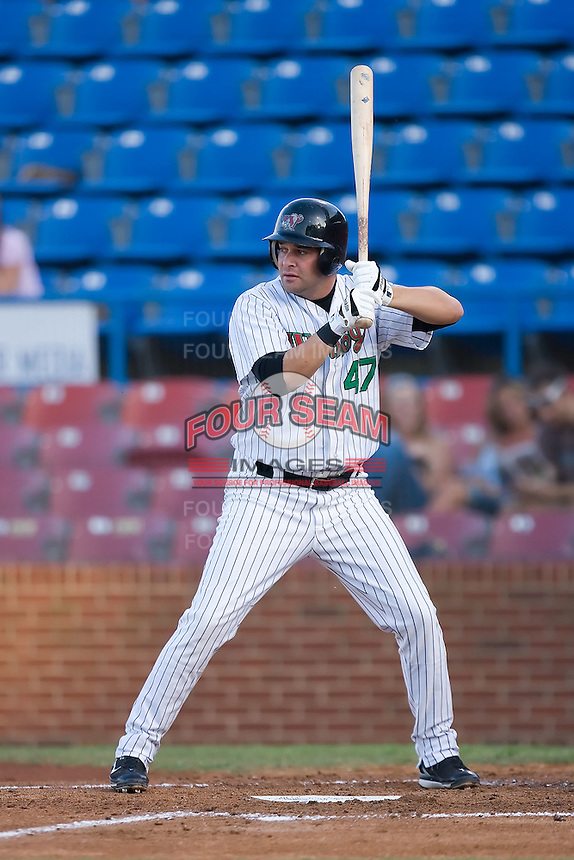 Freddie Thon (47) of the Winston-Salem Warthogs at bat at Ernie Shore Field in Winston-Salem, NC, Thursday July 27, 2008. (Photo by Brian Westerholt / Four Seam Images)