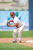 Auburn Doubledays second baseman Dalton Dulin (1) throws to first during a game against the Vermont Lake Monsters on July 13, 2016 at Falcon Park in Auburn, New York.  Auburn defeated Vermont 8-4.  (Mike Janes/Four Seam Images)