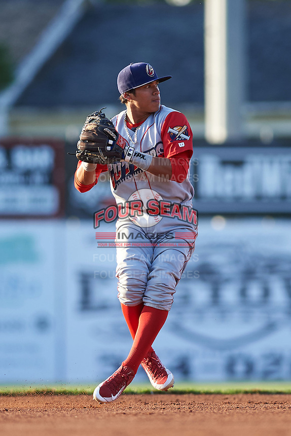 Williamsport Crosscutters shortstop Grenny Cumana (2) throws to first during a game against the Batavia Muckdogs on July 15, 2015 at Dwyer Stadium in Batavia, New York.  Williamsport defeated Batavia 6-5.  (Mike Janes/Four Seam Images)