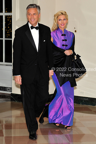 United States Ambasador to China Jon Huntsman and Mary Kaye Huntsman arrive for the State Dinner in honor of President Hu Jintao of China at the White House In Washington, D.C. on Wednesday, January 19, 2011. .Credit: Ron Sachs / CNP.(RESTRICTION: NO New York or New Jersey Newspapers or newspapers within a 75 mile radius of New York City)