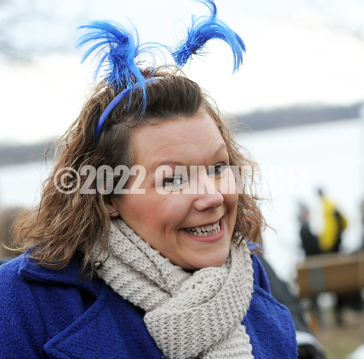 Cassie Brooks of Philadelphia, Pennsylvania wears a blue headpiece after braving the chilly Delaware River during the Polar Bear Plunge benefiting Special Olympics Saturday, January 27, 2017 at Neshaminy State Park in Bensalem, Pennsylvania. (Photo by William Thomas Cain)
