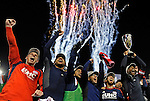 Members of the New England Revolution celebrate their Major League Soccer Eastern Conference championship win over New York at Gillette Stadium on Saturday, November 29, 2014.