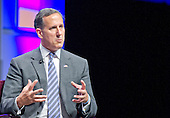Former United States Senator Rick Santorum (Republican of Pennsylvania), a candidate for the 2016 Republican nomination for President of the United States, shares his thoughts on Israel and the Middle East at the 2015 Christians United For Israel Summit Candidates Forum at the Washington Convention Center in Washington, DC on Monday, July 13, 2015. <br /> Credit: Ron Sachs / CNP
