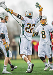 18 April 2015:  University of Vermont Catamount Attacker Alex Stanko (22), a Sophomore from West Newton, MA, celebrates a goal against the University of Hartford Hawks at Virtue Field in Burlington, Vermont. The Cats defeated the Hawks 14-11 in the final home game of the 2015 season. Mandatory Credit: Ed Wolfstein Photo *** RAW (NEF) Image File Available ***