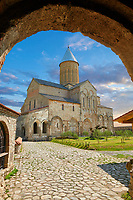 Pictures & images of the the medieval Alaverdi St George Cathedral & monastery complex from the gate house, 11th century, near Telavi, Georgia (country). <br /> <br /> At 50 meters high Alaverdi St George Cathedral was once the highest cathedral in Georgia (now its the nes Tblisi cathedral). The cathedral is part of a Georgian Orthodox monastery founded by the monk Joseph [Abba] Alaverdeli, who came from Antioch and settled in Alaverdi. On the UNESCO World Heritage Site Tentative List.