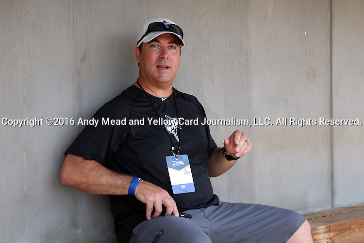 04 June 2016: Nova Southeastern Director of Athletics Michael Mominey. The Nova Southeastern University Sharks played the Millersville University Marauders in Game 14 of the 2016 NCAA Division II College World Series  at Coleman Field at the USA Baseball National Training Complex in Cary, North Carolina. Nova Southeastern won the game 8-6 and clinched the NCAA Division II Baseball Championship.