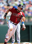 Diamondbacks' Chris Owings runs in a spring training game against the Chicago Cubs in Phoenix, AZ, on Thursday, March 23, 2017.<br /> Photo by Cathleen Allison/Nevada Photo Source