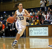 Haley Peters makes a run towards the basket. Duke woman's basketball beat Virginia 77-66 on Monday, January 2, 2012 at Cameron Indoor Stadium in Durham, NC. Photo by Al Drago.
