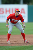 Third Baseman Max Ponzurick (24) of Greensbrug-Salem High School in Greensburg, Pennsylvania playing for the Philadelphia Phillies scout team during the East Coast Pro Showcase on July 31, 2013 at NBT Bank Stadium in Syracuse, New York.  (Mike Janes/Four Seam Images)