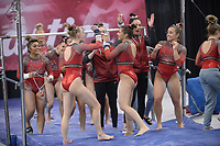 Arkansas' Kiara Gianfagna celebrates with teammates Friday, Feb. 7, 2020, after competing in the bars portion of the Razorbacks' meet with Georgia in Barnhill Arena in Fayetteville. Visit  nwaonline.com/gymbacks/ for a gallery from the meet.<br /> (NWA Democrat-Gazette/Andy Shupe)
