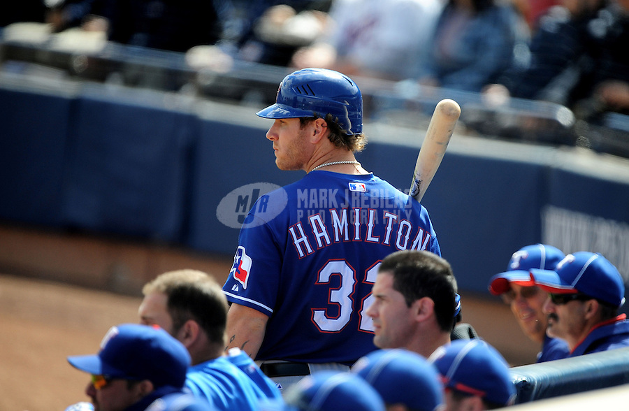 Mar. 7, 2012; Peoria, AZ, USA; Texas Rangers outfielder Josh Hamilton during the first inning against the San Diego Padres at Peoria Stadium.  Mandatory Credit: Mark J. Rebilas-.