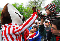 Buckey Badger welcomes fans before the Crazylegs Classic on Saturday, 4/24/10, in Madison, Wisconsin