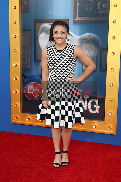 """Laurie Hernandez<br /> at the """"Sing"""" Premiere, Microsoft Theater, Los Angeles, CA 12-03-16<br /> David Edwards/DailyCeleb.com 818-249-4998"""