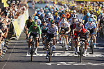 Irish Champion Sam Bennett (IRL) Deceuninck-Quick Step outsprints Caleb Ewan (AUS) Lotto-Soudal and Green Jersey Peter Sagan (SVK) Bora-Hansgrohe to win Stage 10 of Tour de France 2020, his maiden victory in the Tour, running 168.5km from Ile d'Oléron to Ile de Ré, France. 8th September 2020.<br /> Picture: POOL/Bora-Hansgrohe/BettiniPhoto | Cyclefile<br /> All photos usage must carry mandatory copyright credit (© Cyclefile | POOL/Bora-Hansgrohe/BettiniPhoto)