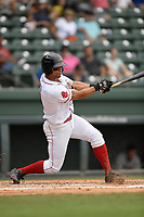 Center fielder Tyler Hill (7) of the Greenville Drive bats in a game against the Hickory Crawdads on Sunday, July 16, 2017, at Fluor Field at the West End in Greenville, South Carolina. Hickory won, 3-1. (Tom Priddy/Four Seam Images)