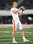 Oregon State Beavers punter Johnny Hekker #7 warming up before the game between the Oregon State Beavers and the TCU Horned Frogs at the Cowboy Stadium in Arlington,Texas. TCU defeated Oregon State 30-21.