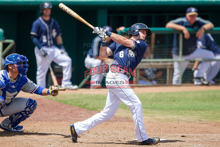 San Antonio Missions outfielder Travis Jankowski (6) follows through on his swing during the Texas League baseball game against the Midland RockHounds on June 28, 2015 at Nelson Wolff Stadium in San Antonio, Texas. The Missions defeated the RockHounds 7-2. (Andrew Woolley/Four Seam Images)