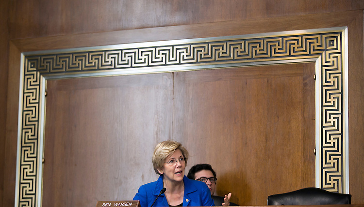 """UNITED STATES - JULY 29: Sen. Elizabeth Warren, D-Mass., proposes an amendment as the Senate Energy and Natural Resources Committee holds a markup of the """"Energy Policy Modernization Act of 2015"""" on Capitol Hill in Washington, July 29, 2015. (Photo By Al Drago/CQ Roll Call)"""