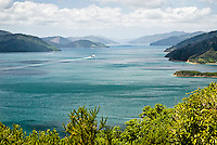Bluebridge ferry in Queen Charlotte Sound leaving Picton - Marlborough, New Zealand
