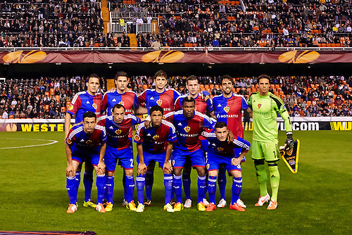 10.04.2014 Valencia, Spain. Basel squad poses prior to  the Europa League Game between Valencia CF and FC Basel at Mestalla Stadium, Valencia