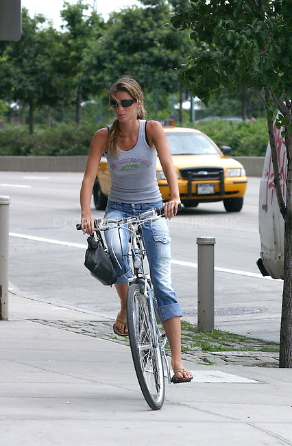 ** EXCLUSIVE ** FEE MUST BE AGREED BEFORE USE **..Hollywood hunk Leonardo DiCaprio and his on-and-off girlfriend Brazilian model Gisele Bundchen enjoyed a sight-seeing bicycle ride around Lower East Side. The happy couple had a good time before disappearing inside Bundchen's Manhattan apartment building. Leo was seen having some minor difficulties with his bicycle. New York, July 7, 2004. Please byline: FLANNERY; VAUGHAN / ACEPIX.COM.   .. *** ***  ..All Celebrity Entertainment, Inc (ACE Pictures) **  ..contact: Alecsey Boldeskul (646) 267-6913 **..Philip Vaughan (646) 769-0430 **..e-mail: info@nyphotopress.com