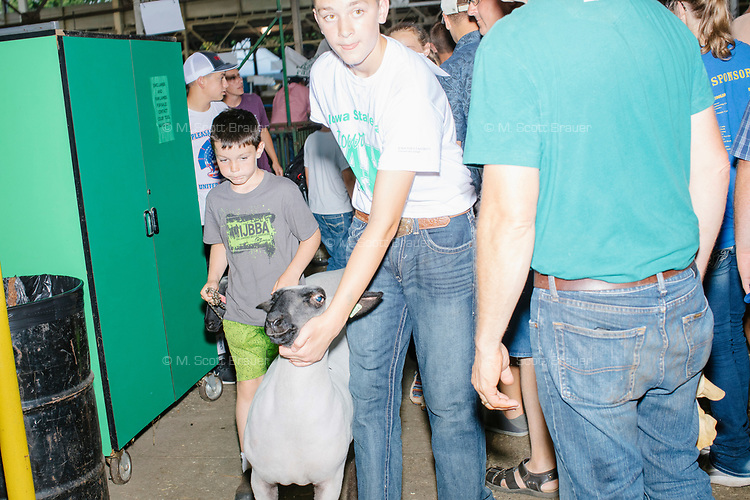 Competitors leave the arena after taking part in the Intermediate 4-H Sheep Showmanship competition in the Sheep Barn at the Iowa State Fair in Des, Moines, Iowa, on Sun., Aug. 11, 2019. The competitors are judged on their ability to display and control the sheep rather than on the characteristics of the animals themselves.