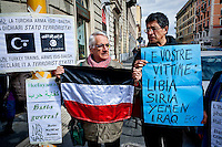 Protest of  No War network, near Turkish embassy, against the terrorist policy of Erdogan, that supports Daesh, kills Kurds, he puts journalists in jail, kills opponents and against the criminal role of Saud in Syria and Yemen. Rome, Italy. 25th Febraury 2016