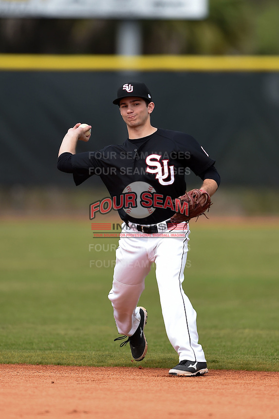 Saint Joseph's Hawks second baseman Marc Giacalone (6) during practice before a game against the Indiana Hoosiers on March 7, 2015 at North Charlotte Regional Park in Port Charlotte, Florida.  Indiana defeated Saint Joseph's 3-2.  (Mike Janes/Four Seam Images)