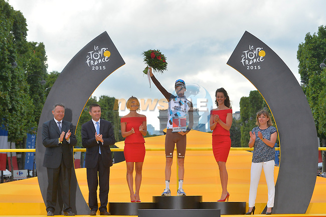 Overall combativity prize winner Romain Bardet (FRA) AG2R on the podium in Paris at the end of Stage 21 of the 2015 Tour de France running 109.5km from Sevres to Paris - Champs Elysees, France. 26th July 2015.<br /> Photo: ASO/B.Bade/Newsfile