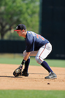 Infielder Levi Hyams (77) of the Atlanta Braves farm system in a Minor League Spring Training intrasquad game on Wednesday, March 18, 2015, at the ESPN Wide World of Sports Complex in Lake Buena Vista, Florida. (Tom Priddy/Four Seam Images)