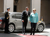 Il presidente del Consiglio Matteo Renzi accoglie il cancelliere tedesco Angela Merkel, destra, a Palazzo Chigi, Roma, 5 maggio 2016.<br /> Italian Premier Matteo Renzi welcomes German Chancellor Angela Merkel, right, at Chigi Palace, Rome, 5 May 2016.<br /> UPDATE IMAGES PRESS/Isabella Bonotto