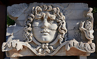 Picture of the ruins of a Medusa relief frieze from the Ancient Ionian Greek  Didyma Temple of Apollo & home to the Oracle of Apollo.  Also known as the Didymaion completed circa 550 BC. modern Didim in Aydin Province, Turkey.