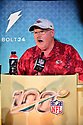 MIAMI, FL - JANUARY 27: Kansas City Chiefs Head Coach Andy Reid answers questions from the media during the NFL Super Bowl ( LIV)(54) Opening Night at Marlins Park on January 27, 2020  in Miami, Florida. ( Photo by Johnny Louis / jlnphotography.com )