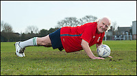BNPS.co.uk (01202 558833)<br /> Pic: TomWren/BNPS<br /> <br /> Still fit as a fiddle...<br /> <br /> An 81-year-old man believed to be 'Britain's oldest footballer' has today made an appeal for a club to come and get him after failing to find a team to play for. <br /> <br /> Sprightly Dickie Borthwick had played every season since the 1940s but has now been sidelined due to a worrying lack of interest in veteran football. <br /> <br /> The left midfielder says despite dwindling opportunities for older players he isn't hanging up his boots just yet. <br /> <br /> Dickie, who thinks he has scored aout 400 goals and has never been booked in a 1,600 match career, would like to play once every two weeks.