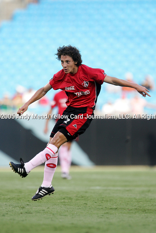 Andres Guardado of Atlas on Sunday, July 17, 2005, at Bank of America Stadium in Charlotte, North Carolina. U.A.G. Tecos defeated Atlas (both of the Mexican soccer league) 1-0 in a preseason game.