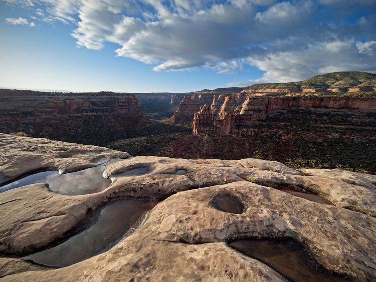 View from Book Cliffs Overlook after a spring storm in the Colorado National Monument, Colorado, USA