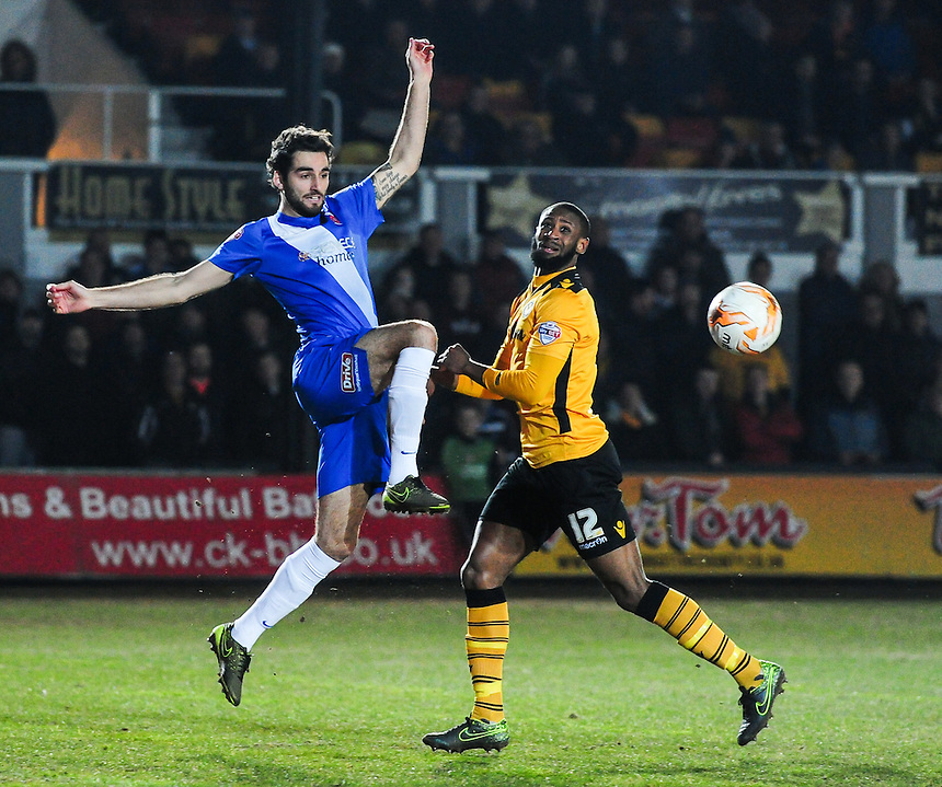 Hartlepool United's Adam Jackson in action during todays match  <br /> <br /> Photographer Craig Thomas/CameraSport<br /> <br /> Football - The Football League Sky Bet League Two - Newport County v Hartlepool United - Tuesday 15th March 2016 - Rodney Parade - Newport<br /> <br /> &copy; CameraSport - 43 Linden Ave. Countesthorpe. Leicester. England. LE8 5PG - Tel: +44 (0) 116 277 4147 - admin@camerasport.com - www.camerasport.com