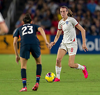 ORLANDO, FL - MARCH 05: Jill Scott #8 of England dribbles during a game between England and USWNT at Exploria Stadium on March 05, 2020 in Orlando, Florida.