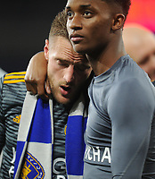 Leicester City's Jamie Vardy is consoled by Demarai Gray<br /> <br /> Photographer Kevin Barnes/CameraSport<br /> <br /> The Premier League -  Cardiff City v Leicester City - Saturday 3rd November 2018 - Cardiff City Stadium - Cardiff<br /> <br /> World Copyright © 2018 CameraSport. All rights reserved. 43 Linden Ave. Countesthorpe. Leicester. England. LE8 5PG - Tel: +44 (0) 116 277 4147 - admin@camerasport.com - www.camerasport.com