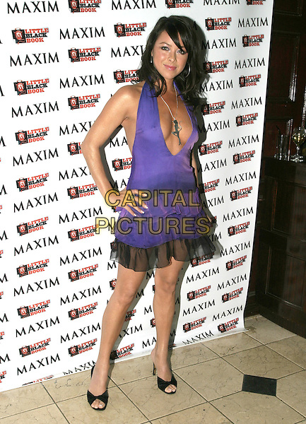 LISA SCOTT LEE.Maxim's Little Black Book,.Pascha London, Victoria, London, .February 17th 2005..full length purple ruffle mini dress layered  scott-lee.silver girl woman cat necklace pendant.Ref: AH.www.capitalpictures.com.sales@capitalpictures.com.©Capital Pictures.